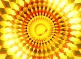 trendy orange yellow sunrise center radiance background poster