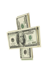 stack of money isolated on white