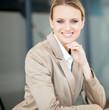 beautiful young caucasian businesswoman closeup portrait