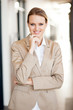 modern attractive young businesswoman half length portrait