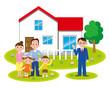 住宅と販売員