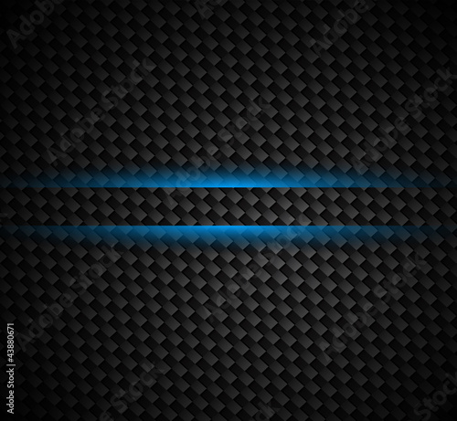 Carbon fibre background with dark tones and blue light
