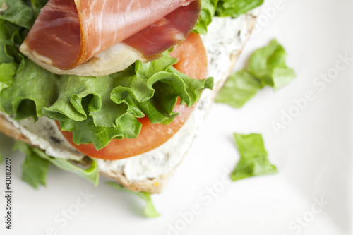 freshly made ham and vegetable sandwich