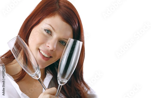 woman with two champagne glasses (white background)
