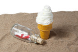 ice cream sundae with message in the bottle