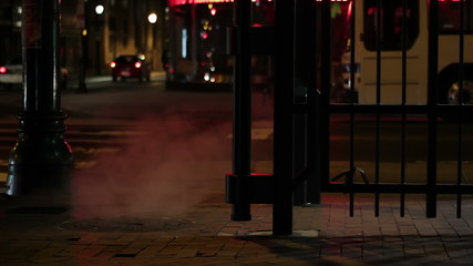 Downtown steam vent in Philadelphia, USA, at night