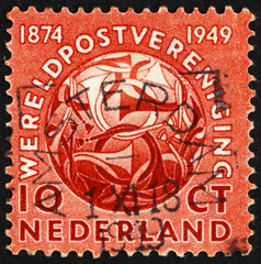 Postage stamp Netherlands 1949 Post Horns Entwined