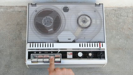 close up of an old tape recorder