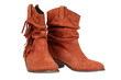 Suede boots isolated on the white background with clipping path
