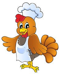 Cartoon chicken chef
