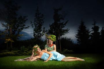 Two ladies in gorgeous garden