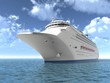The luxury oceanic cruising liner on blue sea waves
