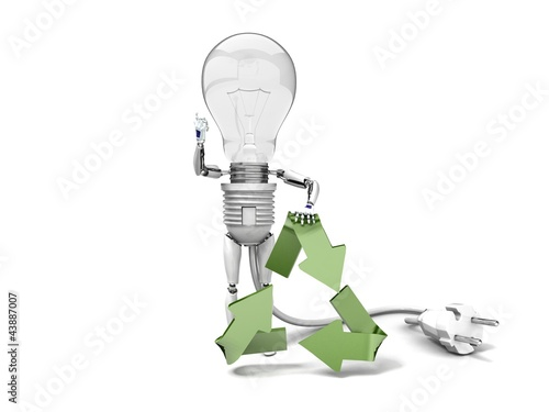 "The robot ""bulb"" leans on recycling symbol and show ""ok"""