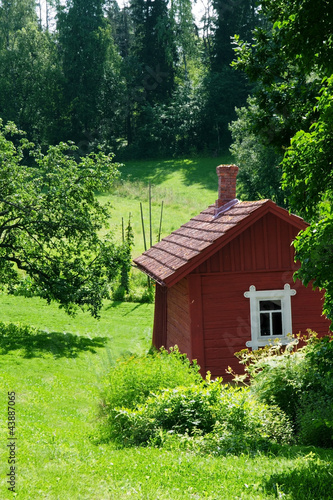Red idyllic cottage in summer landscape