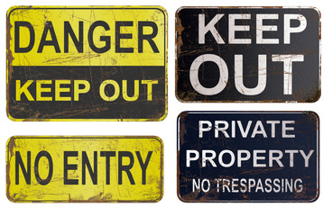 Set of rusty sign isolated on white