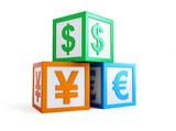 business preschool alphabet cube finance sign