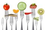 Wiele widelców z zdrową żywnością
