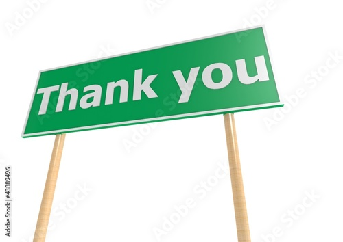Street sign with thank you word