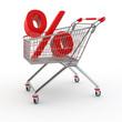 Einkaufswagen mit Prozent