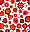Seamless flower red retro background pattern in vector