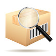 Tracking parcel services. Order with barcode and loop icon.
