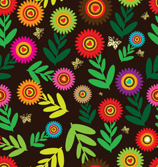 Seamless flower retro background