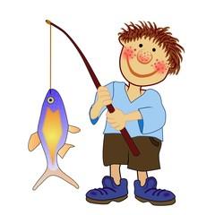 kleiner Angler mit großer Beute