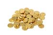 Schokoladengoldmünzen auf weiß isoliert