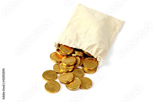 Goldmünzen in einem Beutel