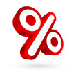 Red/White 3D Percent Sign Sale