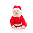 Christmas happy baby is crawling
