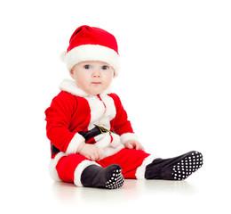 funny baby in Santa Claus clothes