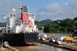 Ship passes through the Panama Channel Locks
