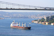 Transportation with a cargo ship sailing under the bridge..