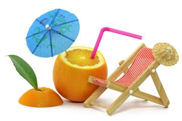 orange mit sonnenliege