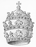 Vintage 19th century drawing of  a Papal Tiara
