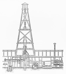 Vintage Combined drilling rig from early 20th century