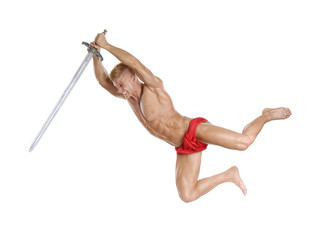 Guerrero sujetando una espada,peleando,ataque de un guerrero.