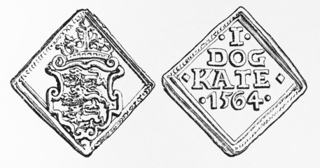 Vintage drawing representing a Danish coin from 1564