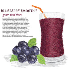 blueberries and glass of blueberry smoothie