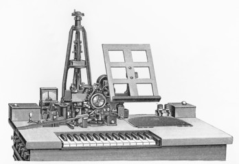 Vintage drawing of a Hughes machine with electric motor