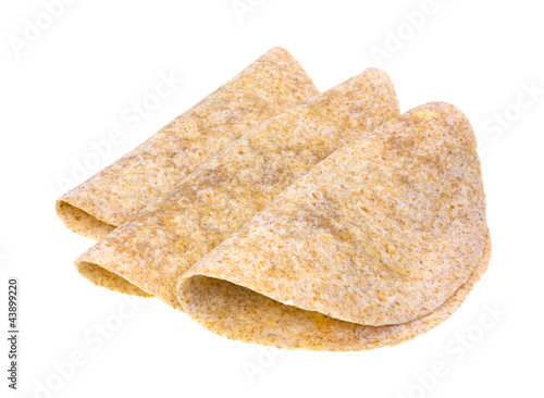 Folded whole wheat tortillas