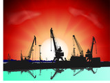 Silhouettes of port constructions on sunset