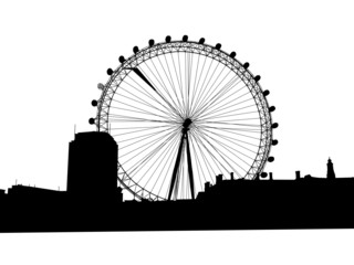 Big wheel on background of a city