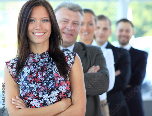 young businesswoman with her successful business team