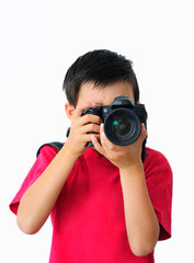 Boy in Red T-Shirt Taking Photo with a Camera