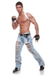 Muscular sexy naked man in blue jeans