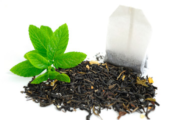 Tea Bag and Dried Tea Leaves