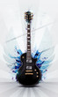 illustration of guitar with wings and colorful grungy splash