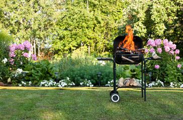 Flames in a barbecue